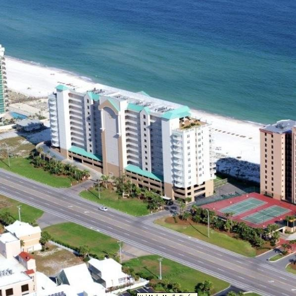 Aerial view of Regency Isle Orange Beach. www.CondoRentalOrangeBeach.com beach vacation orangebeach gulfshores
