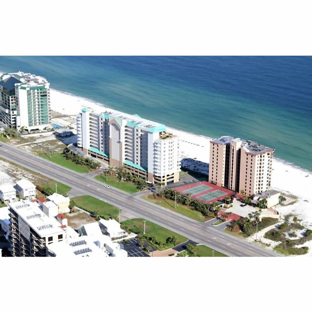 Aerial view of Regnecy Isle Orange Beach, AL. www.CondoRentalOrangeBeach.com beach vacation orangebeach gulfshores