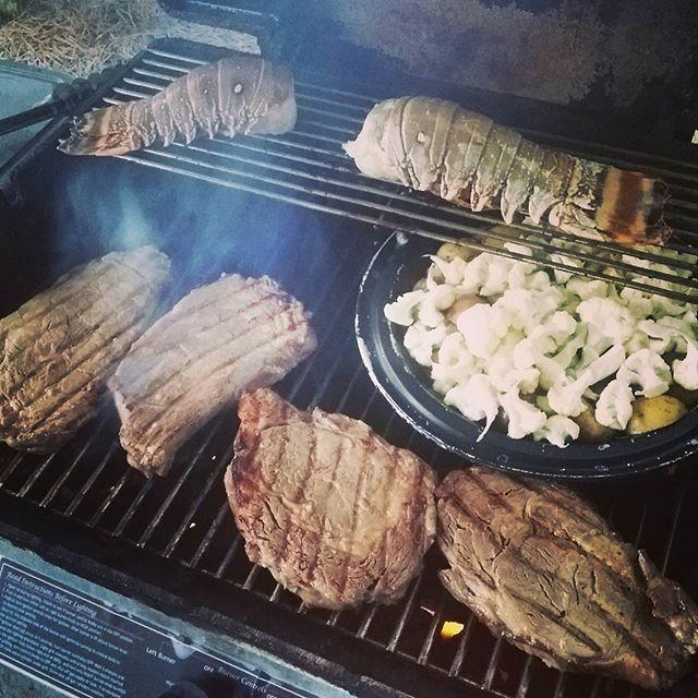 Ribeye steak, lobster, roasted cauliflower and potatoes at Regency Isle Orange Beach. fatheroftheyear husbandoftheyear OrangeBeachCondo orangebeach gulfshores alabama beach vacay beach