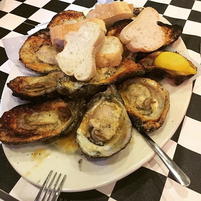 Eating lunch at Acme Oyster House in Gulf Shores, AL.  These charbroiled oysters were the best.  #charbroiledoysters #gulfshoresalabama #eats
