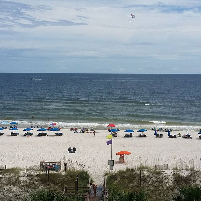 No filter view of Orange Beach Beautiful beach day. Parasailor in the distant.  #OrangeBeach #gulfshores #alabama #Parasailor #parasailing