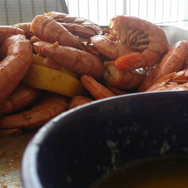 Royal Red Shrimp steamed from Joe Patti's Seafood is the perfect way to start an Orange Beach Vacation.  #joepattis #orangebeachcondo #orangebeach #gulfshores
