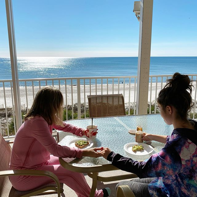 New Year's eve breakfast 2019. Mother and daughter enjoy avocado toast on the balcony of the orange beach condo. Facebook.com/condorentalorangebeach #orangebeachalabama #orangebeach #orangebeachcondo #newyearseve #newyear #newyears2019 #newyears2020