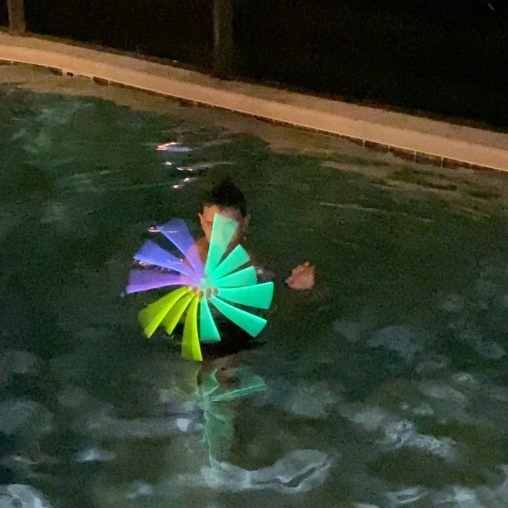 Having fun with Glow sticks in the pool at night! Putting them together to make a portal like Dr. Strange is lots of fun! #glowsticks #glowparty #glowsticksinpool #drstrange #poolfun