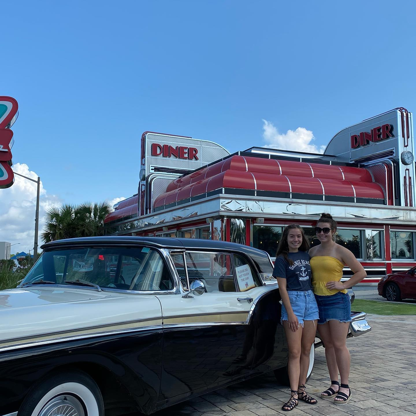 Enjoy breakfast at the Sunliner Diner- go back to the good ole days of the fifties. Read the newspaper, take a picture with the old cars and maybe even get to eat in one too. #breakfastdiners #breakfastingulfshores #olddinersign