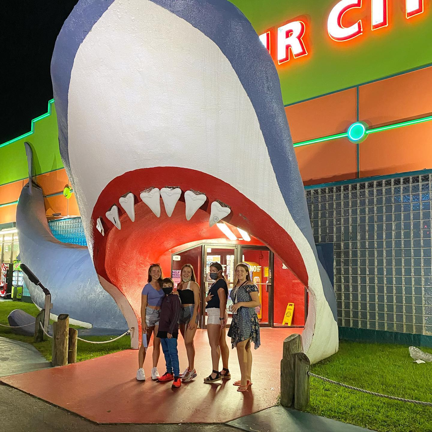 You have to make a stop at Souvenir City with the huge shark head and get a picture in the teeth.  This large icon has been a favorite spot for many years now and there is plenty of good souvenirs to buy. #sharkhead #teethofsharks #souvenirshops #beachicon