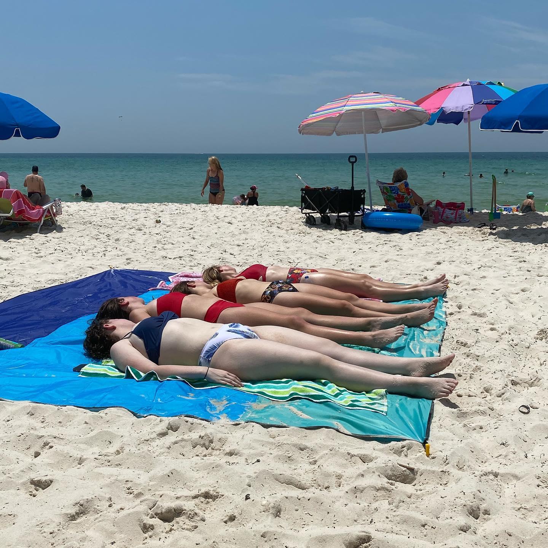 Fun in the sun- 4 beach babes soaking up rays!! #orangebeachalabama #orangebeachfunandfriends #orangebeachgirlstrip
