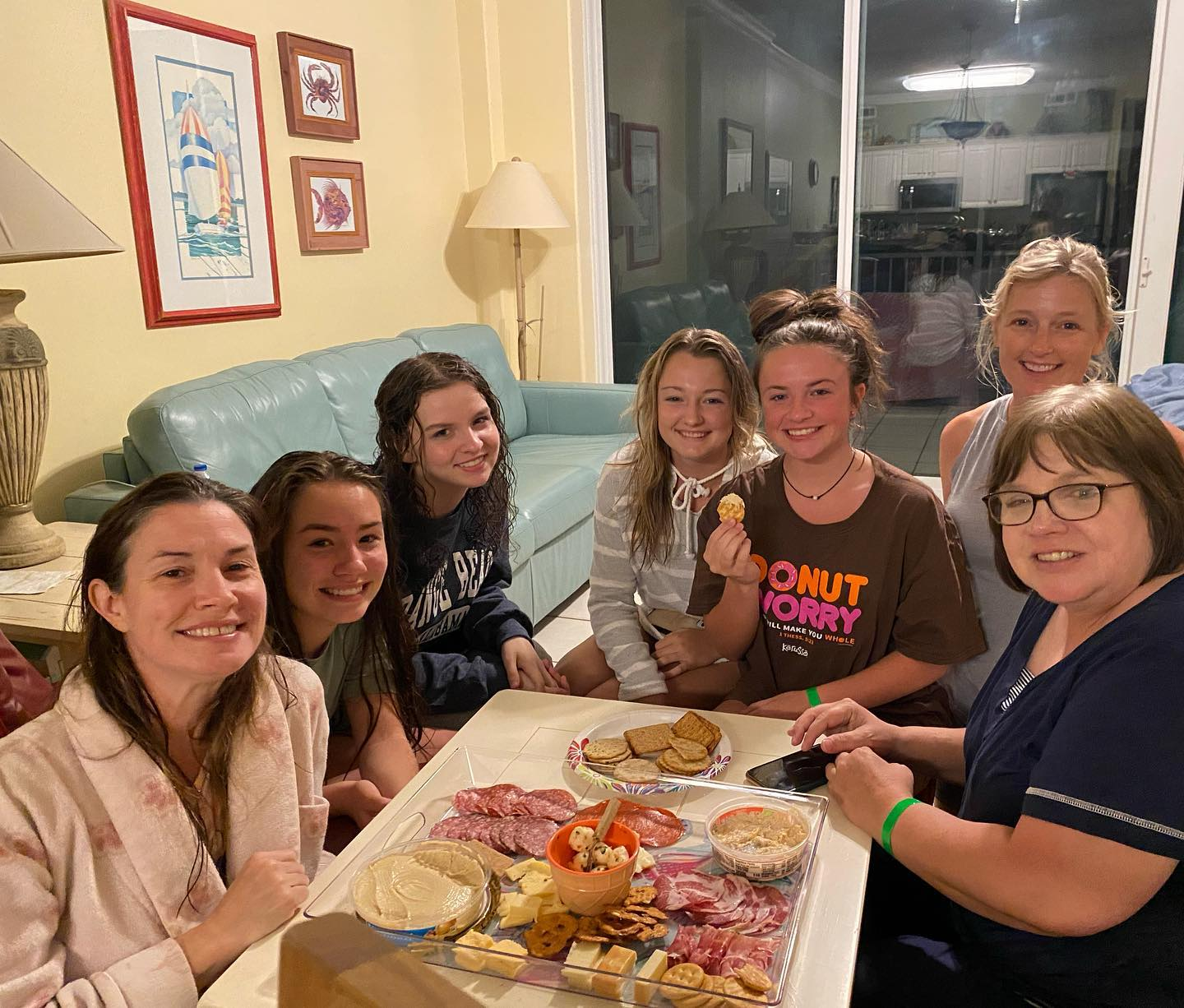 We made the best cheese and meat tray! great night playing games and laughing with our friends- best beach trip! #girlsbeachtrip #friendsnight #gameboardnight
